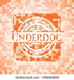 Underdog orange tile background illustration. Square geometric mosaic seamless pattern with emblem inside.