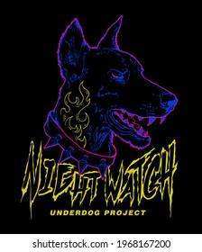 Underdog Project slogan print design with doberman line art illustration in bright colors