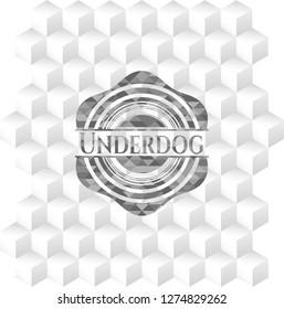 Underdog realistic grey emblem with cube white background