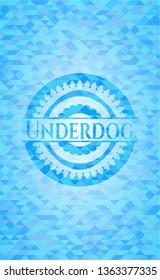 Underdog realistic light blue mosaic emblem