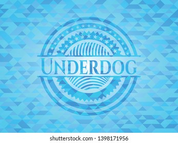 Underdog realistic sky blue mosaic emblem