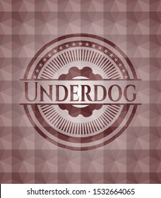 Underdog red badge with geometric background. Seamless.