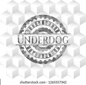 Underdog retro style grey emblem with geometric cube white background