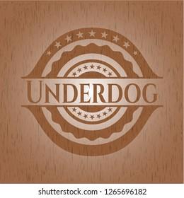 Underdog retro wooden emblem