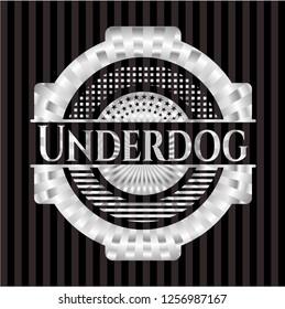 Underdog silvery badge or emblem