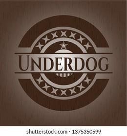 Underdog vintage wooden emblem