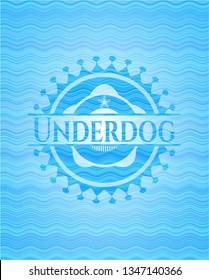 Underdog water wave concept badge background.