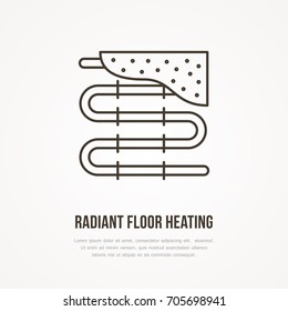 Underfloor heating flat line icon. Outline sign of radiant floor hot pipes. Vector illustration for plumbing service.