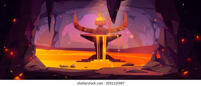 Underground cave, entrance to hell or infernal world with lava, devil altar with stone horns and burning fire on top with sparks flying, stalactite rocks, magma, Cartoon vector blazing satan sanctuary