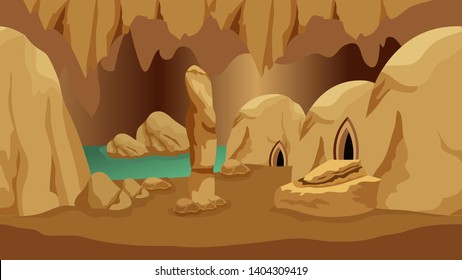 Underground cave landscape. Background for mysterious fantasy game asset or cartoon. Underground realm of gnomes or dwarves. Rock houses, lake, stones. Vector illustration