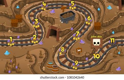 Underground crystal mining site  game level map