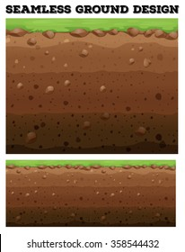 Underground design with lawn on dirt illustration
