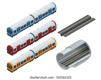 Underground isometric set with train and station symbols. Flat 3d isometric high quality city transport icon set. Subway train collection. Vehicles designed to carry large numbers of passengers.