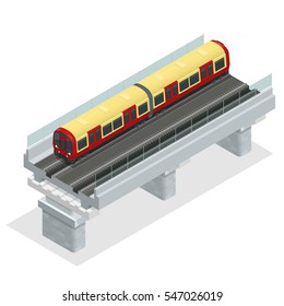 Underground isometric train. Flat 3d isometric high quality city transport icon set. Vector city Subwaytrain collection. Vehicles designed to carry large numbers of passengers.