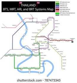 underground map mrt bts bangkok Thailand
