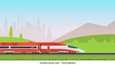 Underground metro train and urban cityscape. Subway transpotion and railroad vector concept. Metro city railway, railroad and train transport illustration