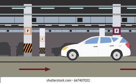 Underground parking background. Vector flat design image.
