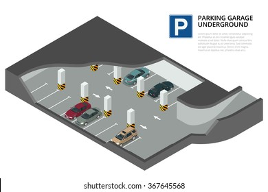 Underground parking with cars. Indoor car park under house or office. Flat 3d isometric vector illustration for infographic.