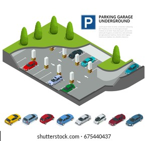 Underground parking with cars. Indoor car park. Urban car parking service. Flat 3d isometric vector illustration for infographic. Isometric car. Isometric vehicles