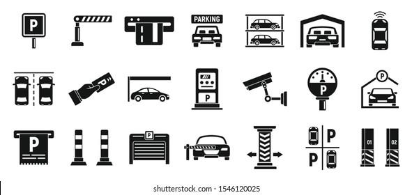 Underground parking icons set. Simple set of underground parking vector icons for web design on white background