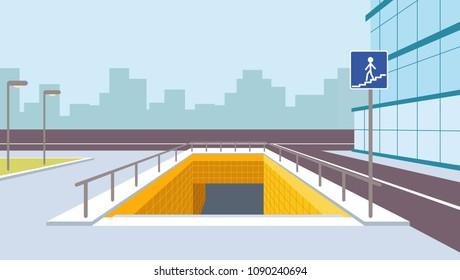 Underground pedestrian crossing perspective illustration. City view