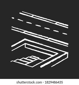 Underground pedestrian walkway chalk white icon on black background. Safe pedestrian crosswalk. Underground tunnels. Modern city infrastructure. Isolated vector chalkboard illustration