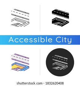 Underground pedestrian walkway icon. Safe pedestrian crosswalk. Underground tunnels. Modern city infrastructure. Linear black and RGB color styles. Isolated vector illustrations