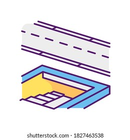 Underground pedestrian walkway RGB color icon. Safe pedestrian crosswalk. Underground tunnels. Modern city infrastructure. Disabled people accessible facilities. Isolated vector illustration