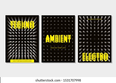 Underground rave. Electronic festival banner template. Techno music poster set. Abstract minimal background with dots grid. Vibe and light effect.