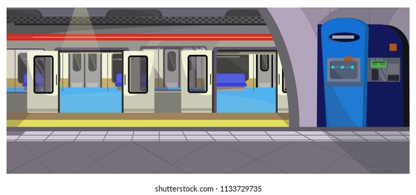 Underground stop vector illustration. Modern subway station with control booth and empty train. Metro illustration