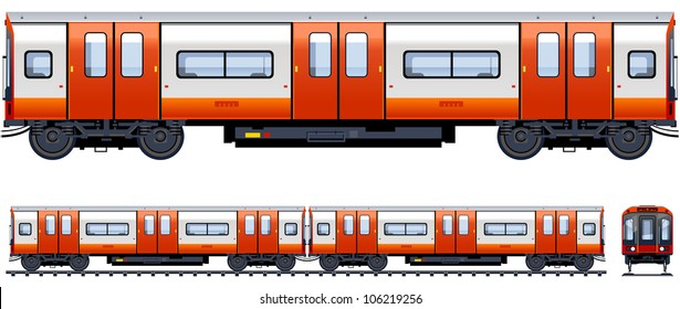 Underground train  (Train #11). Pixel optimized. Elements are in the separate layers. In the side, back and front views.