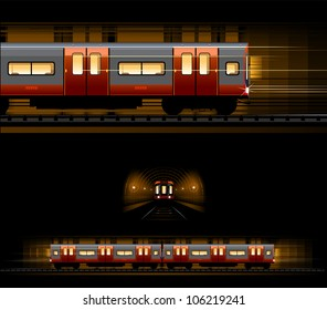 Underground train (Train #14). Pixel optimized. Elements are in the separate layers. In the side, back and front views.
