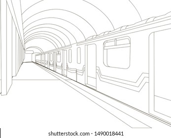 Underground. The train car is at the station. Coloring vector illustration