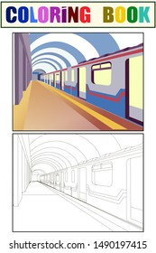 Underground. The train car is at the station. Coloring book and color sketch. vector illustration