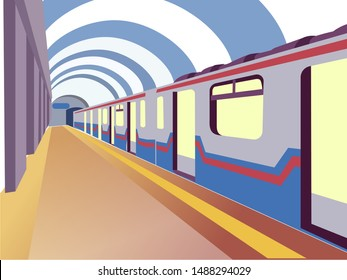 Underground. The train car is at the station. In minimalist style. Cartoon flat vector illustration