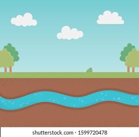 underground water ground section landscape vector illustration