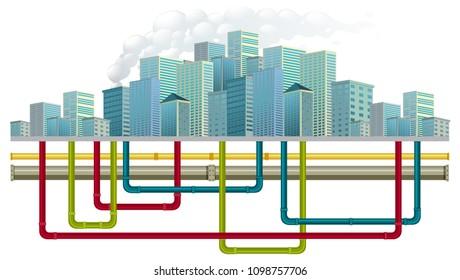 Underground Water Pipe System illustration