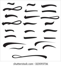 Underline Lettering Line Set Vector. Pen Strike Underline Isolated On white. Handwrite Text Marker Iillustration