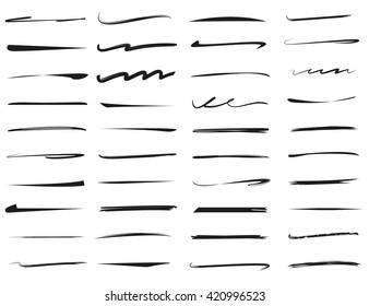 underlines lettering line set, brush line
