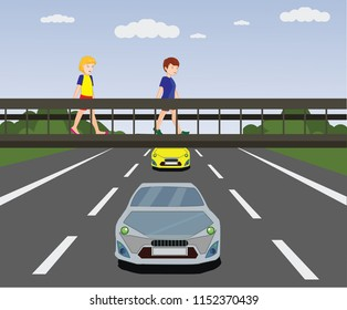 underpass, footbridge, overpass, children using pedestrian crossing. lower bridge. underpass vector illustration, lower pedestrian crossing, crosswalk. pedestrian bridge