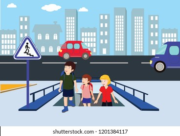 underpass, footbridge, overpass, children using pedestrian crossing. lower bridge. underpass vector illustration, lower pedestrian crossing, crosswalk