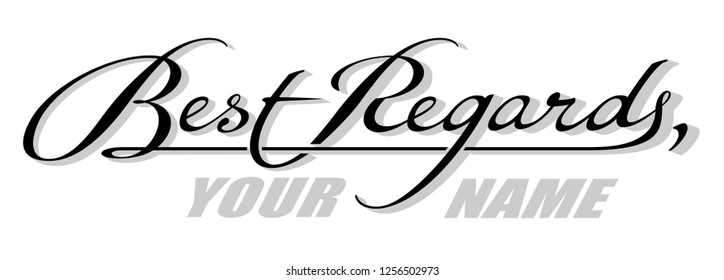 Underscore handwritten text Best Regards with shadow. Hand drawn calligraphy lettering with copy space