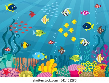 Undersea: Cartoon illustration of underwater world with corals and fish.