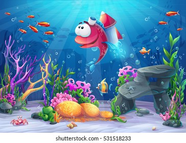 Undersea fish with rocket. Marine Life Landscape - the ocean and the underwater world with different inhabitants. For design websites and mobile phones, printing
