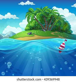 Undersea with island. Marine life landscape - the ocean and the underwater with different inhabitants. For design websites and mobile phones, printing.