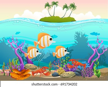 undersea with island. vector illustration of the sea. beautiful fish and coral