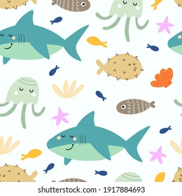 undersea seamless pattern with cartoon sharks, fish, octopus, shells, starfish. Colorful vector flat for kids. hand drawing. baby design for fabric, print, wrapper, textile