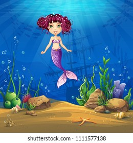 Undersea world with brunette mermaid. Marine Life Landscape - the ocean and the underwater world with different inhabitants. For design websites and mobile phones, printing.