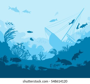 Undersea world, coral reef and sea creatures, vector illustration