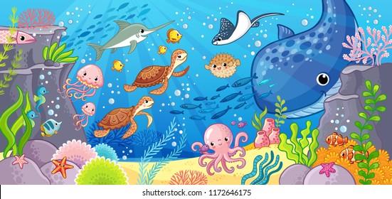 Подводный мир. Симпатичные мультфильм животных под водой. Векторная иллюстрация на морскую тему.